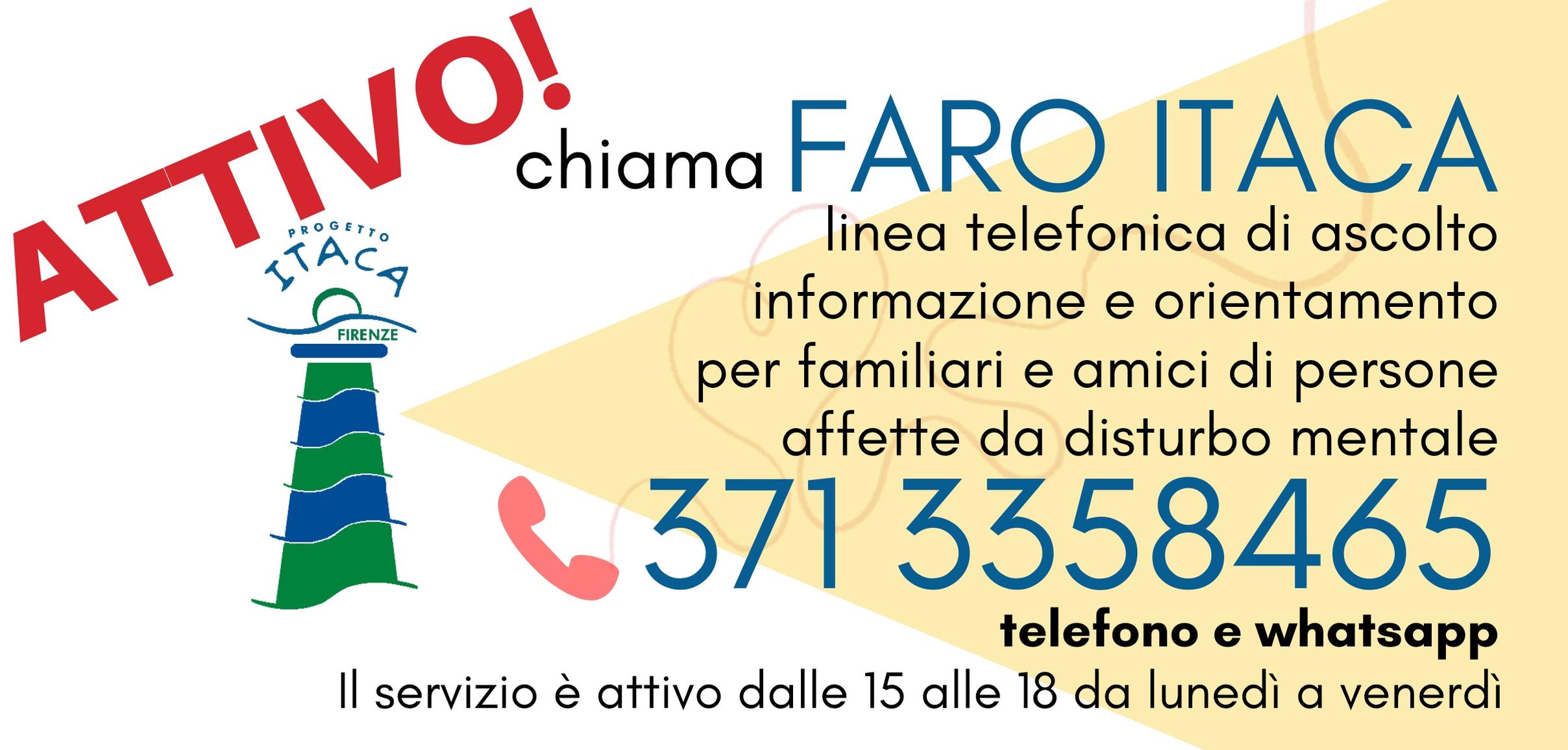 La nostra linea d'Ascolto FARO ITACA è attiva e a vostra disposizione!